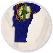 Vermont Map Art With Flag Design Round Beach Towel