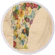 Vermont Map Vintage Watercolor Round Beach Towel