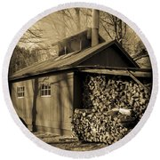 Vermont Maple Sugar Shack Circa 1954 Round Beach Towel