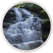 Vermont New England Waterfall Green Trees Forest Round Beach Towel