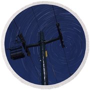 Vermont Night Sky Skiing Star Trails Round Beach Towel