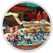 Vermont Pond Hockey Scene Round Beach Towel by Carole Spandau