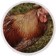 Vermont Rooster Round Beach Towel