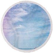 Vermont Summer Beach Boats Clouds Round Beach Towel