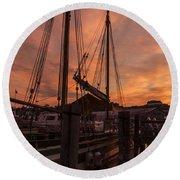 Vermont Sunrise Boats Pier Lake Champlain Round Beach Towel