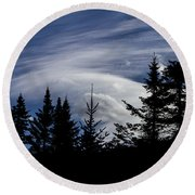 Vermont Tree Silhouette Clouds Cloudscape Round Beach Towel