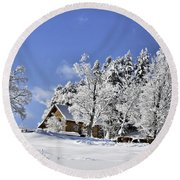 Vermont Winter Beauty Round Beach Towel