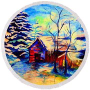 Vermont Winterscene In Blues By Montreal Streetscene Artist Carole Spandau Round Beach Towel
