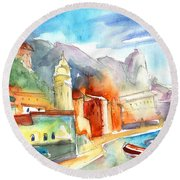 Vernazza In Italy 07 Round Beach Towel