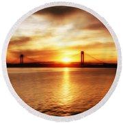 Verrazano Bridge At Sunset Round Beach Towel