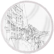 Vertical Amalfi Pencil And Ink Sketch Round Beach Towel