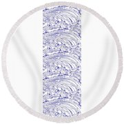 Vertical Panoramic Grunge Etching Royal Blue Color Round Beach Towel
