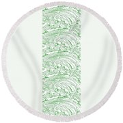 Vertical Panoramic Grunge Etching Sage Color Round Beach Towel