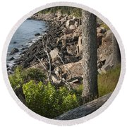 Vertical Photograph Of The Rocky Shore In Acadia National Park Round Beach Towel