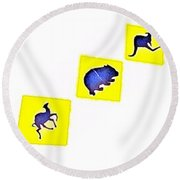 Vertical Road Signs Round Beach Towel