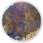 Vertical View Of Big Painted Canyon Trail In Mecca Hills-ca Round Beach Towel