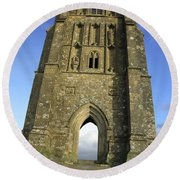 Vertical View Of Glastonbury Tor Round Beach Towel