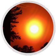 Very Colorful Sunset Round Beach Towel