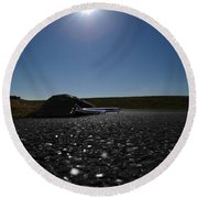 Very Hard Tarmac - Boeing 787 Round Beach Towel by Marcello Cicchini