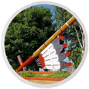 Very Large Pipestone Pipe Sculpture By Former Rock Island Line Railroad Depot In Pipestone-minnesota Round Beach Towel
