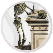 Vesalius: Skeleton, 1543 Round Beach Towel