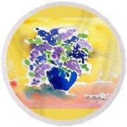 Vase With Lilas Flowers Round Beach Towel