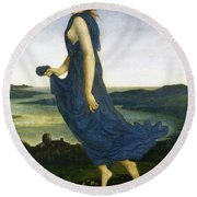 Vesper The Evening Star Round Beach Towel