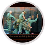 Veterans At Vietnam Wall Round Beach Towel by Carolyn Marshall