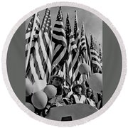 Veteran's Day Parade University Of Arizona Tucson Black And White Round Beach Towel