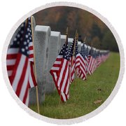 Veterans Day Round Beach Towel