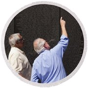Veterans Look For A Fallen Soldier's Name On The Vietnam War Memorial Wall Round Beach Towel