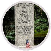Veterans Memorial Round Beach Towel
