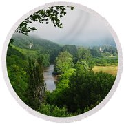 Vezere River Valley Round Beach Towel