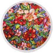 Vibrant Blooms Round Beach Towel