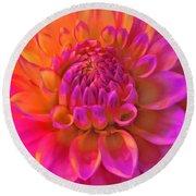 Vibrant Dahlia Flower Round Beach Towel
