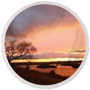 Storm At Dusk 2am-108350 Round Beach Towel