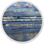 Vibrant November Clouds Round Beach Towel