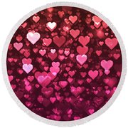 Vibrant Pink And Red Bokeh Hearts Round Beach Towel