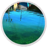 Vibrant Reflections -water - Blue Round Beach Towel