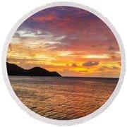 Vibrant Tropical Sunset Round Beach Towel