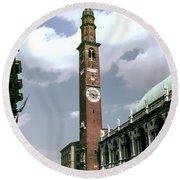 Vicenza Clock Tower Round Beach Towel