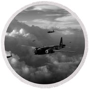 Vickers Wellingtons No 75 Squadron Black And White Version Round Beach Towel