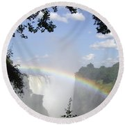 Victoria Falls Rainbow Round Beach Towel