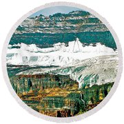 Victoria Glacier From Plain Of Six Glaciers Trail In Banff Np-ab Round Beach Towel