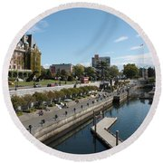Victoria Harbour With Empress Hotel Round Beach Towel