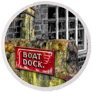 Victorian Boat Dock Sign Round Beach Towel by Adrian Evans