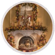 Victorian Christmas By The Fire Round Beach Towel