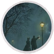 Victorian Couple At Night Round Beach Towel
