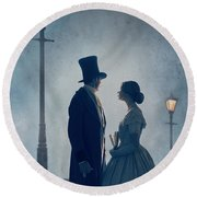 Victorian Couple At Nighttime Under Gas Lights  Round Beach Towel
