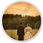 Victorian Couple In A Summer Meadow Round Beach Towel